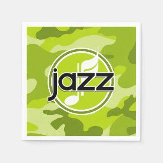 Jazz; bright green camo, camouflage paper napkins