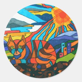 Jazz cat sat on the wall classic round sticker