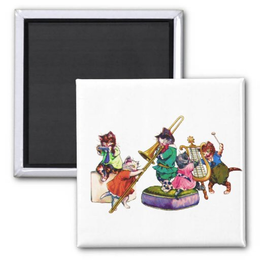 Jazz Cats 2 Inch Square Magnet