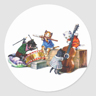 Jazz Cats Classic Round Sticker