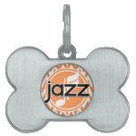 Jazz; Chevron anaranjado y blanco Placas De Nombre De Mascota
