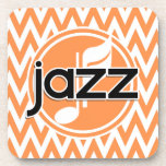 Jazz; Chevron anaranjado y blanco Posavasos De Bebidas