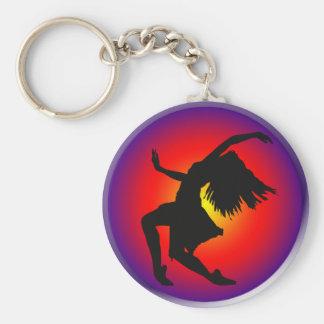 Jazz dancer silhouette on multi background basic round button keychain