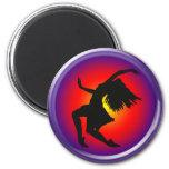 Jazz dancer silhouette on multi background refrigerator magnets