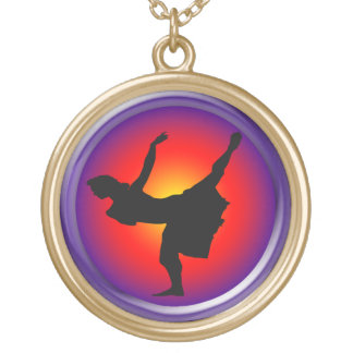 Jazz dancer silhouette personalized necklace