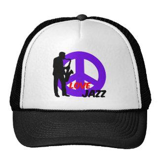 Jazz del amor de la paz gorras de camionero