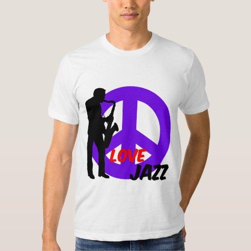 Jazz del amor de la paz poleras