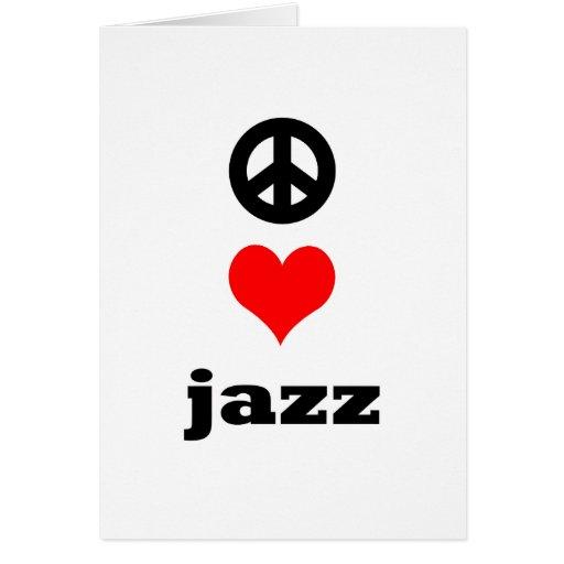 jazz del amor de la paz tarjeta de felicitación