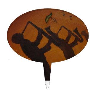 Jazz del arte de Brown Saxiphone Figura Para Tarta