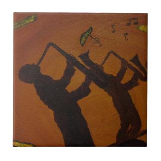 Jazz del arte de Brown Saxiphone Azulejo