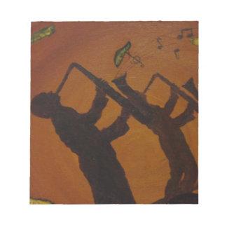 Jazz del arte de Brown Saxiphone Blocs De Notas