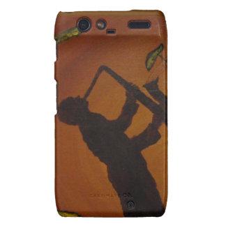 Jazz del arte de Brown Saxiphone Droid RAZR Carcasa