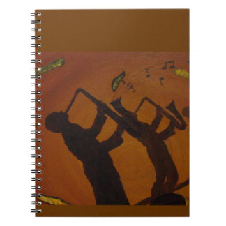 Jazz del arte de Brown Saxiphone Libro De Apuntes Con Espiral