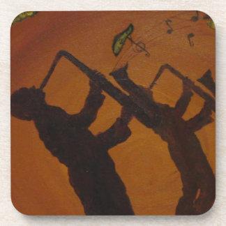 Jazz del arte de Brown Saxiphone Posavasos