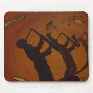 Jazz del arte de Brown Saxiphone Tapete De Ratón