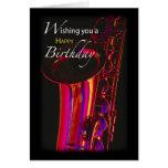Jazz del cumpleaños, saxofón tarjeta de felicitación