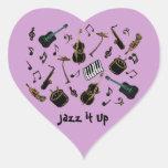 Jazz él para arriba pegatina de corazón