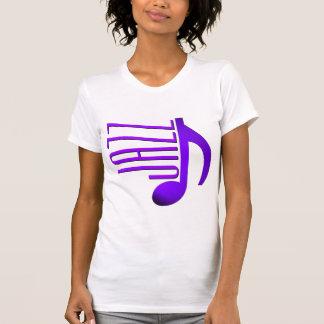 Jazz Elegant Purple Music Note Skinny Font T-Shirt