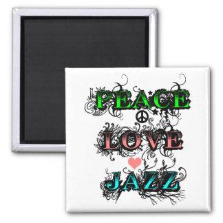 Jazz enrrollado del amor de la paz iman de nevera