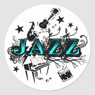 Jazz enrrollado etiqueta redonda