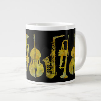 Jazz Ensemble in Gold 20 Oz Large Ceramic Coffee Mug