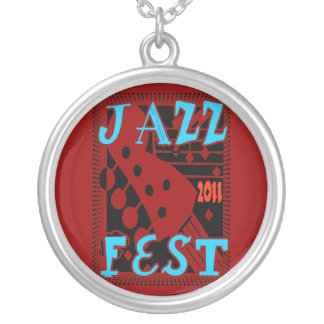 Jazz Fest 2011 Guitar Silver Plated Necklace