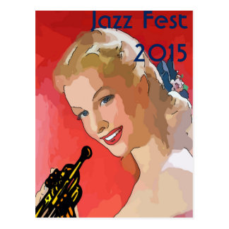 Jazz Fest 2015, woman with horn Postcard