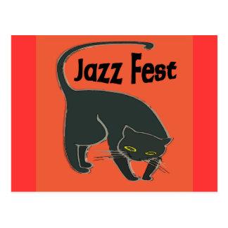 Jazz Fest Chat Noir, Red 2015 Postcard