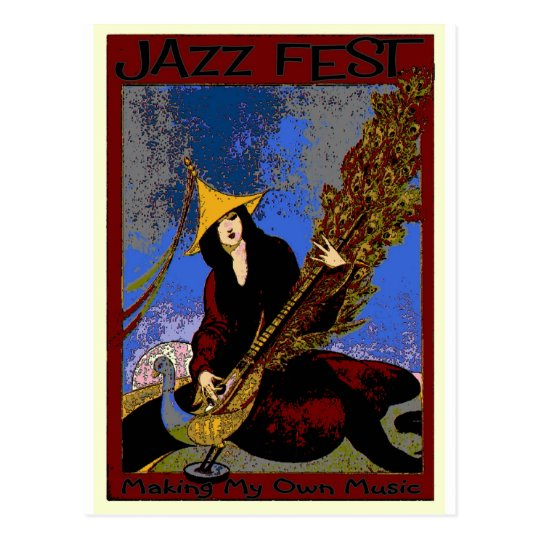 Jazz Fest Create My Own Music Lute Player Postcard