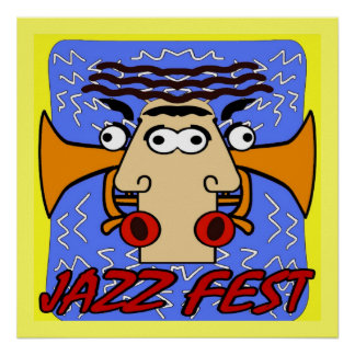 Jazz Fest Cubism Face and Horn Poster