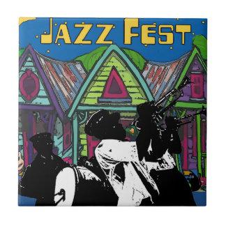 Jazz Fest Houses, Brass Band NOLA Tile