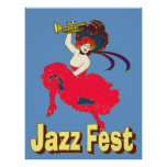 Jazz Fest Lady With Horn Poster