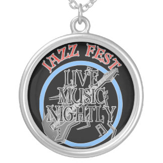 Jazz fest Live Music Black Silver Plated Necklace