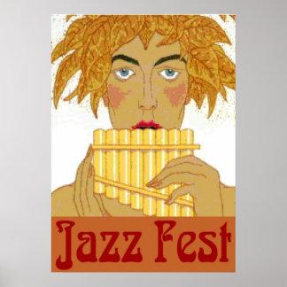 Jazz Fest Pan on Flute Poster