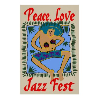 Jazz fest, Peace Love, Rasta Man Poster