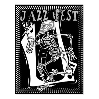 Jazz Fest Skeleton Postcard
