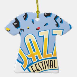 jazz festival design Double-Sided T-Shirt ceramic christmas ornament