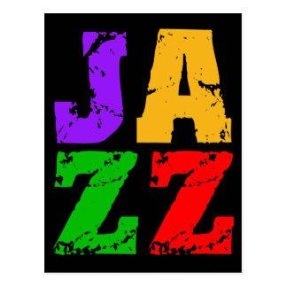 Jazz fresco colorido tarjetas postales