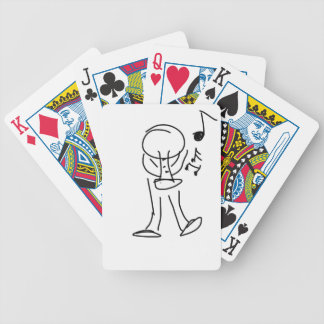 Jazz guy with trumpet bicycle playing cards