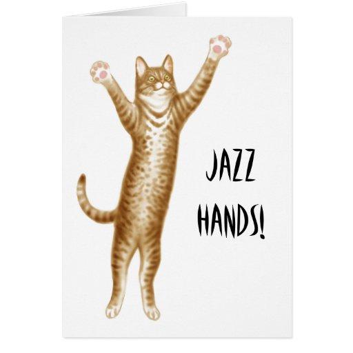 Jazz Hands Cat Card