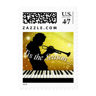 Jazz Horn Player Tis the Season | yellow Postage