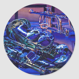 """""""Jazz In Blues"""" Musical Instruments Watercolor Classic Round Sticker"""