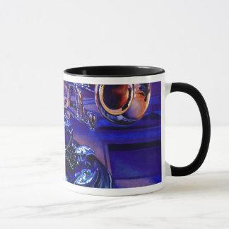 """Jazz In Blues"" Musical Instruments Watercolor Mug"