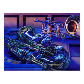 """Jazz In Blues"" Musical Instruments Watercolor Postcard"