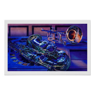 """Jazz In Blues"" Musical Instruments Watercolor Print"
