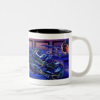 """Jazz In Blues"" Musical Instruments Watercolor Two-Tone Coffee Mug"