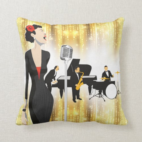 Jazz In The Park 16x16 Pillow Music Theme Throw Pillow
