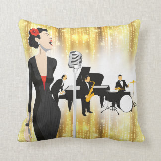 Jazz In The Park 16x16 Pillow, Music Theme Throw Pillow