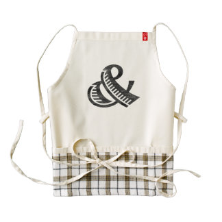 Jazz Letterpress Ampersand Black Zazzle HEART Apron
