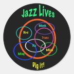 Jazz Lives Classic Round Sticker